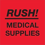Tape Logic® Labels; Rush - Medical Supplies, Fluorescent Red, 500/Roll (DL1337)