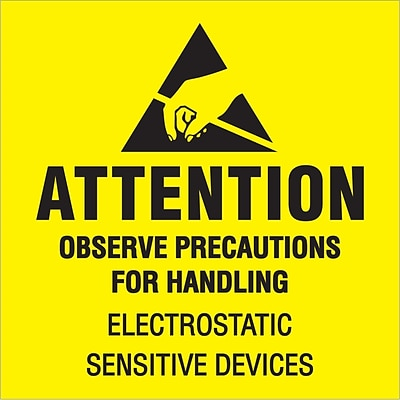 Tape Logic® Labels, Attention - Observe Precautions, 2 x 2, Fluorescent Yellow/Black, 500/Roll (DL1369)