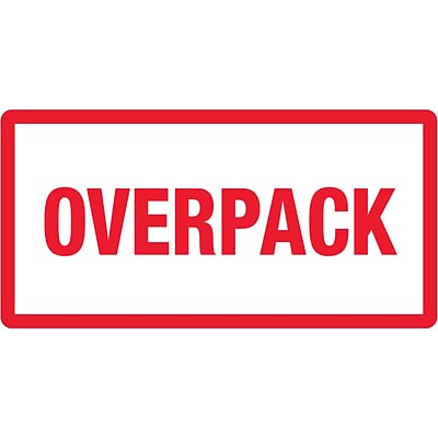 Tape Logic® Labels, Overpack, 3 x 6, Red/White, 500/Roll (DL1374)