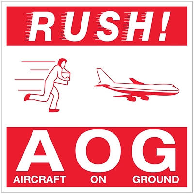 Tape Logic® Labels, Rush AOG - Aircraft On Ground, 4 x 4, Red/White, 500/Roll (DL1376)