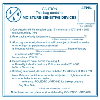 Tape Logic® Labels, Caution Moisture Sensitive Devices, 4 x 4, Blue/White, 500/Roll (DL1381)
