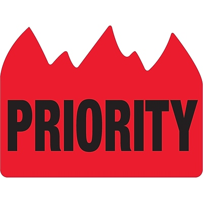 Tape Logic® Flame Labels, Priority (Bill of Lading), 1 1/2 x 2, Red/Black, 500/Roll (DL1391)
