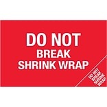 Tape Logic® Flame Labels; Do Not Break Shrink Wrap (Bill of Lading), 5 x 8, Red/White, 500/Roll