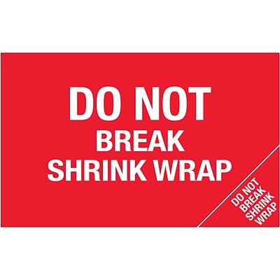 Tape Logic® Flame Labels, Do Not Break Shrink Wrap (Bill of Lading), 5 x 8, Red/White, 500/Roll (DL1392)