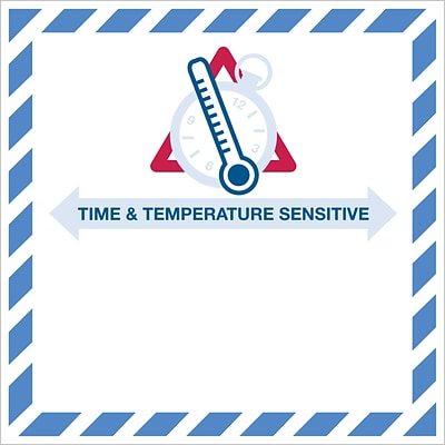 Tape Logic® Time And Temperature Sensitive Labels, 4 1/4 x 4 1/4, Red/Blue, 500/Roll (DL1394)