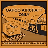 Tape Logic® Labels; Cargo Aircraft Only, 4 1/4 x 4 1/4, Orange/Black, 500/Roll (DL1395)
