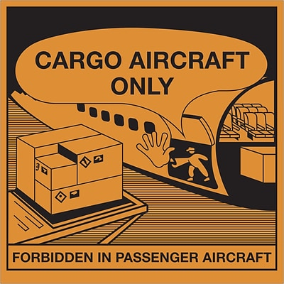 Tape Logic® Labels, Cargo Aircraft Only, 4 1/4 x 4 1/4, Orange/Black, 500/Roll (DL1395)