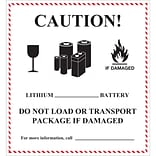 Tape Logic® Labels, Caution - Lithium Battery Handling, 4 5/8 x 5, Black/White/Red, 500/Roll (DL