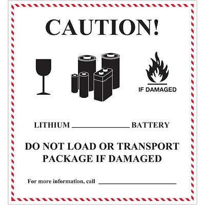 Tape Logic® Labels, Caution - Lithium Battery Handling, 4 5/8 x 5, Black/White/Red, 500/Roll (DL1397)