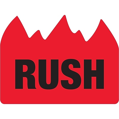Tape Logic® Flame Labels, Rush (Bill of Lading), 1 1/2 x 2, Red/Black, 500/Roll (DL1401)