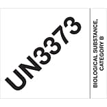 Tape Logic® Labels; UN3373 Biological Substance Category B, 4 x 4 3/4, Black/White, 500/Roll (DL