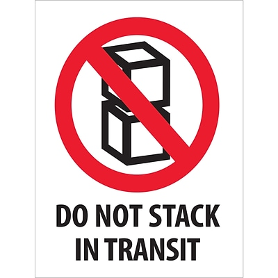 Tape Logic® Labels, Do Not Stack In Transit, 3 x 4, Red/White/Black, 500/Roll (DL2150)