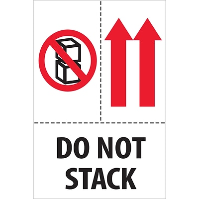 Tape Logic® Labels, Do Not Stack, 4 x 6, Red/White/Black, 500/Roll (DL2153)