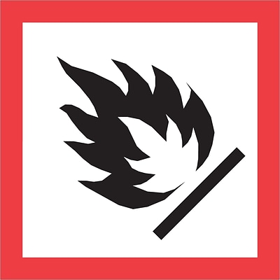Tape Logic® Pictogram Labels, Flame, 2 x 2, Red/White/Black, 500/Roll (DL4241)