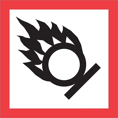 Tape Logic® Pictogram Labels, Flame Over Circle, 2 x 2, Red/White/Black, 500/Roll (DL4246)