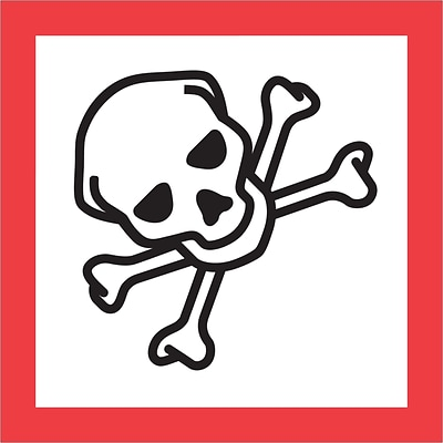 Tape Logic® Pictogram Labels, Skull and Crossbones, 2 x 2, Red/White/Black, 500/Roll (DL4248)