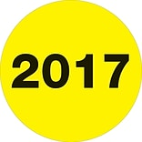 Tape Logic® Year Labels, 2017, 2 Circle, Fluorescent Yellow, 500/Roll (DL6812)