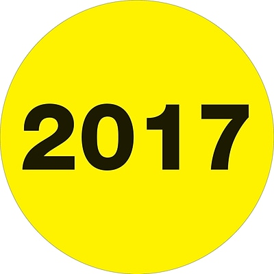 Tape Logic® Year Labels, 2017, 3 Circle, Fluorescent Yellow, 500/Roll (DL6813)