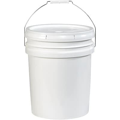Plastic Pail, Open Head, 5 Gallon, White, 1/Each (HAZ1076)