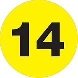 Tape Logic® Number Labels; 14, 3 Circle, Fluorescent Yellow, 500/Roll (DL1355)