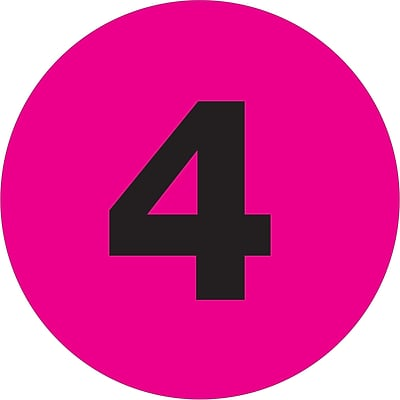 Tape Logic® Number Labels, 4, 4 Circle, Fluorescent Pink, 500/Roll (DL1361)