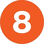 Tape Logic® Number Labels; 8, 3 Circle, Orange, 500/Roll (DL1348)
