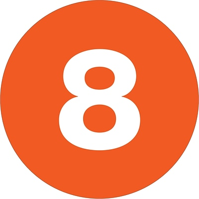 Tape Logic® Number Labels, 8, 3 Circle, Orange, 500/Roll (DL1348)