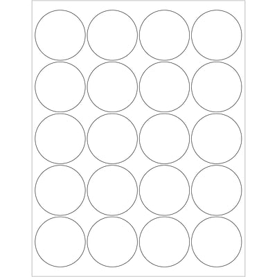 Tape Logic® Circle Laser Labels, 2, Glossy White, 2000/Case (LL302)