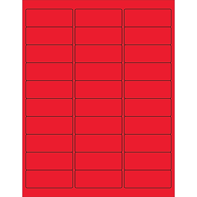 Tape Logic® Rectangle Laser Labels, 2 5/8 x 1, Fluorescent Red, 3000/Case (LL173RD)