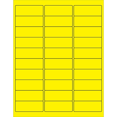 Tape Logic® Rectangle Laser Labels, 2 5/8 x 1, Fluorescent Yellow, 3000/Case (LL173YE)