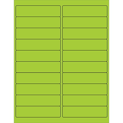 Tape Logic® Rectangle Laser Labels, 4 x 1, Fluorescent Green, 2000/Case (LL177GN)