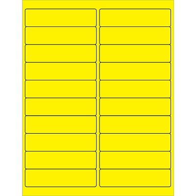 Tape Logic® Rectangle Laser Labels, 4 x 1, Fluorescent Yellow, 2000/Case (LL177YE)
