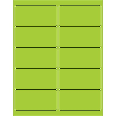 Tape Logic® Rectangle Laser Labels, 4 x 2, Fluorescent Green, 1000/Case (LL178GN)