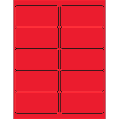 Tape Logic® Rectangle Laser Labels, 4 x 2, Fluorescent Red, 1000/Case (LL178RD)
