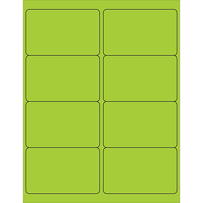 Tape Logic® Rectangle Laser Labels, 4 x 2 1/2, Fluorescent Green, 800/Case (LL179GN)