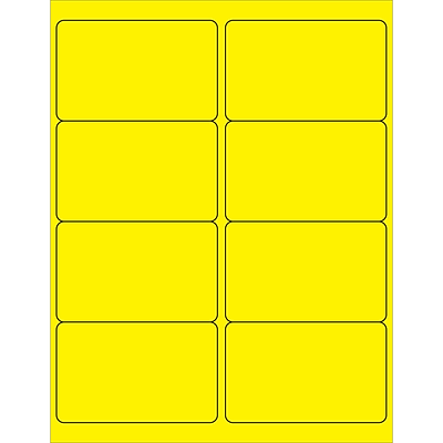 Tape Logic® Rectangle Laser Labels, 4 x 2 1/2, Fluorescent Yellow, 800/Case (LL179YE)