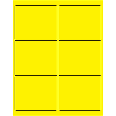 Tape Logic® Rectangle Laser Labels, 4 x 3 1/3, Fluorescent Yellow, 600/Case (LL180YE)