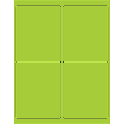 Tape Logic® Rectangle Laser Labels, 4 x 5, Fluorescent Green, 400/Case (LL181GN)