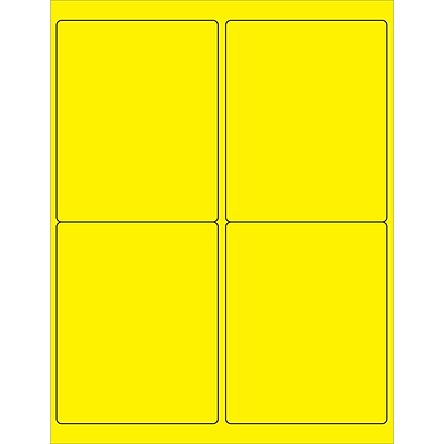 Tape Logic® Rectangle Laser Labels, 4 x 5, Fluorescent Yellow, 400/Case (LL181YE)
