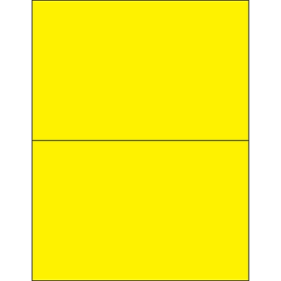 Tape Logic® Rectangle Laser Labels, 8 1/2 x 5 1/2, Fluorescent Yellow, 200/Case (LL184YE)