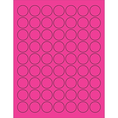 Tape Logic® Circle Laser Labels, 1, Fluorescent Pink, 6300/Case (LL191PK)