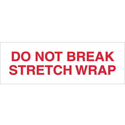 Tape Logic Pre-Printed Carton Sealing Tape, Do Not Break Stretch Wrap, 2 x 110 yds., Red/White, 36/Case (T902P08)