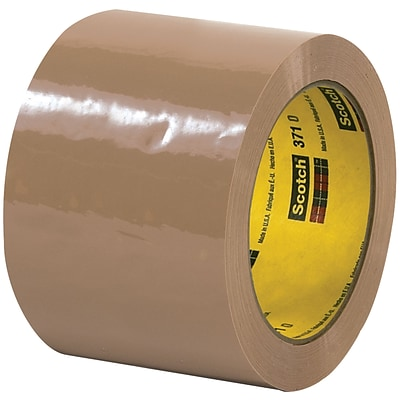 3M™ Scotch  371 Carton Sealing Tape, 3 x 55 yds., Tan, 6/Case (T906371T6PK)