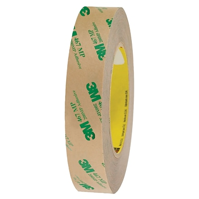 3M™ 467MP Adhesive Transfer Tape, Hand Rolls, 1 x 60 yds., Clear, 36/Case (19332-3)