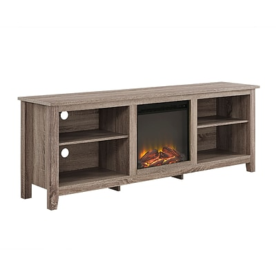 Walker Edison 70 Wood Fireplace TV Stand, Driftwood (SP70FP18AG)