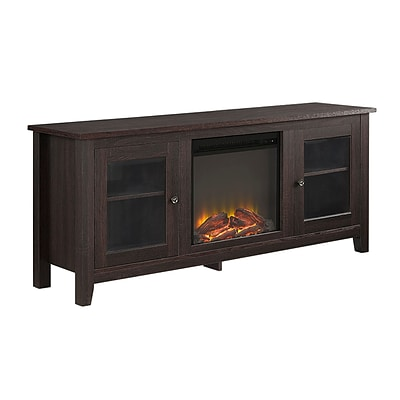 Walker Edison 58 Wood Fireplace TV Stand, Espresso (SP58FP4DWES)