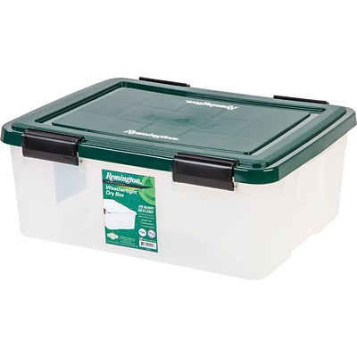 Remington® 30 Quart Weathertight Storage Box, Green, 6 Pack (296035)