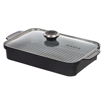 MAKER Homeware Rectangular Steam Grill Pan; Black (592063)