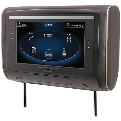 Power Acoustik LCD Universal Headrest With IR & FM Transmitters & 3 Interchangeable Skins (DVD Player)
