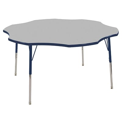 ECR4Kids 48 Clover Table Grey/Navy-Standard Swivel Glide (ELR-14101-GNV-SS)